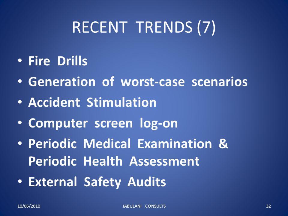 RECENT TRENDS (7) Fire Drills Generation of worst-case scenarios