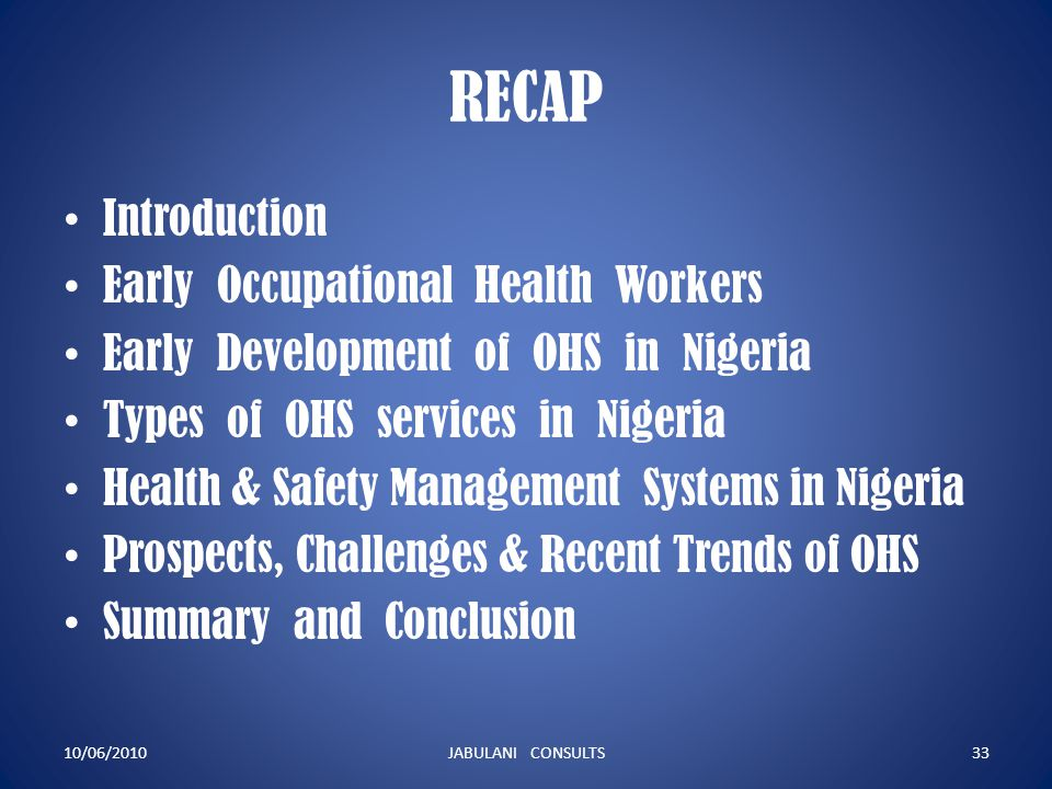 RECAP Introduction Early Occupational Health Workers