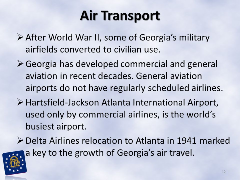 Air Transport After World War II, some of Georgia's military airfields converted to civilian use.