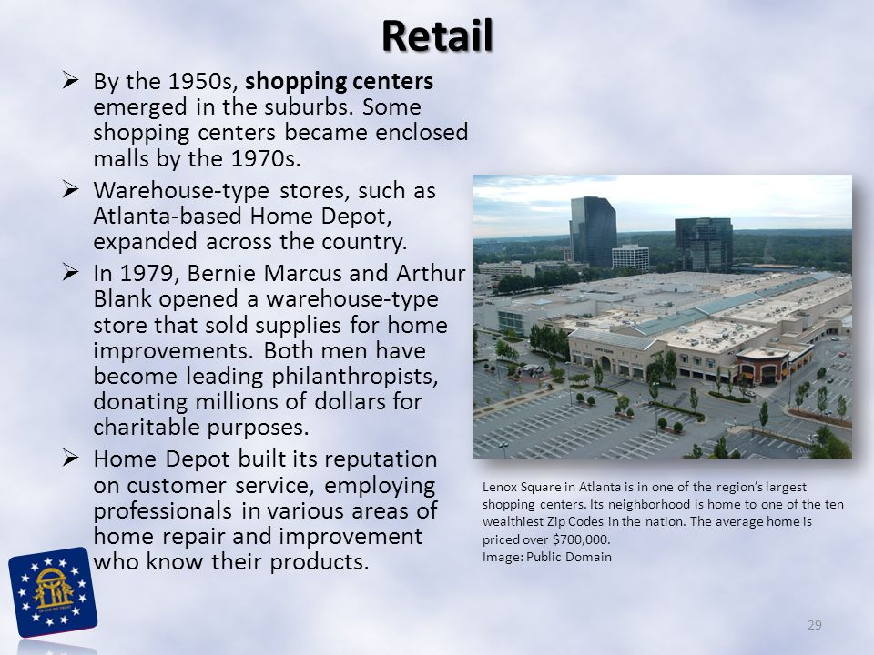 Retail By the 1950s, shopping centers emerged in the suburbs. Some shopping centers became enclosed malls by the 1970s.