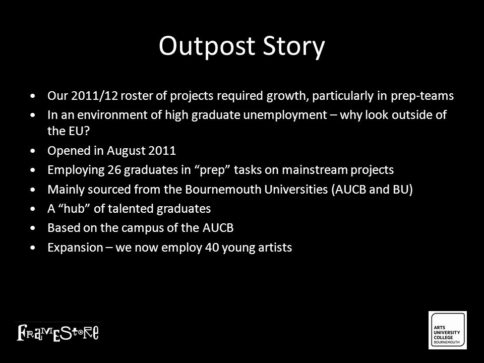 Outpost Story • Our 2011/12 roster of projects required growth, particularly in prep-teams.