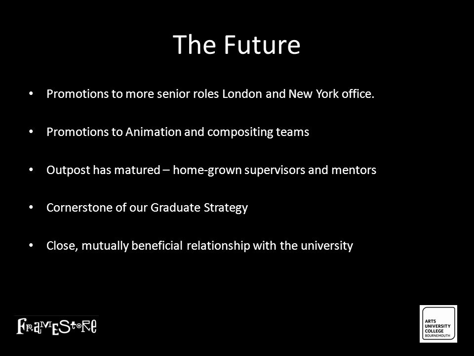 The Future Promotions to more senior roles London and New York office.
