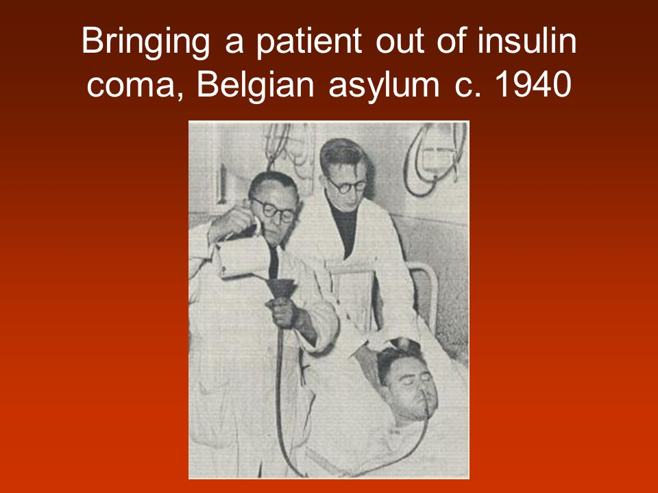 Bringing a patient out of insulin coma, Belgian asylum c. 1940