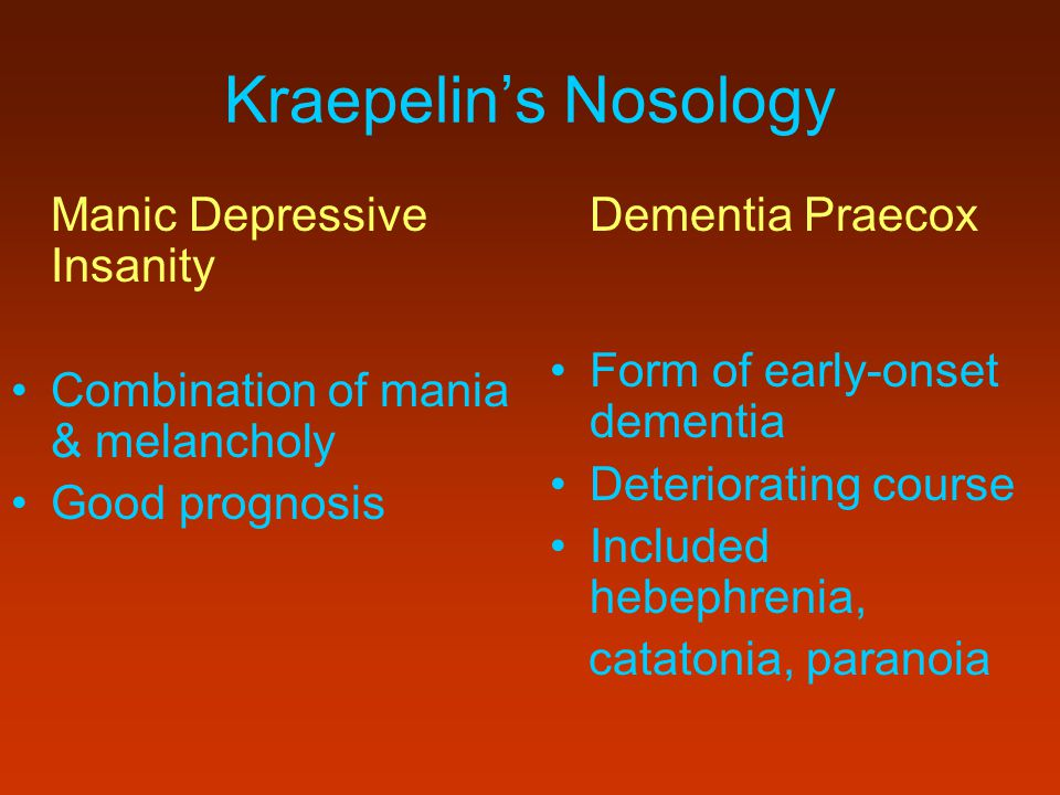 Kraepelin's Nosology Form of early-onset dementia