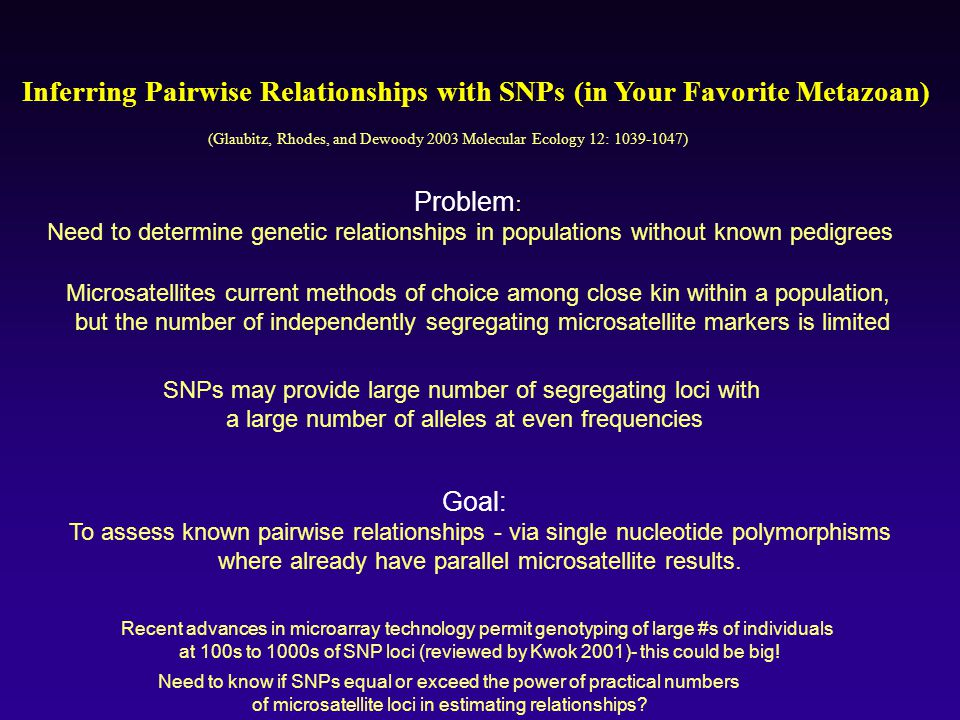 Inferring Pairwise Relationships with SNPs (in Your Favorite Metazoan)
