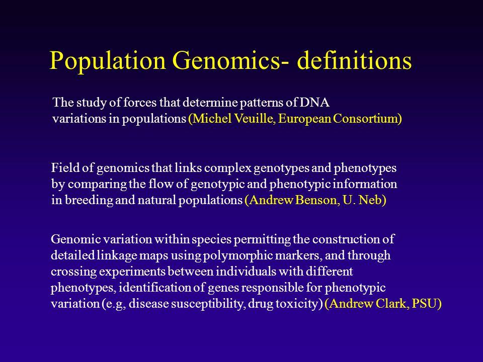 Population Genomics- definitions