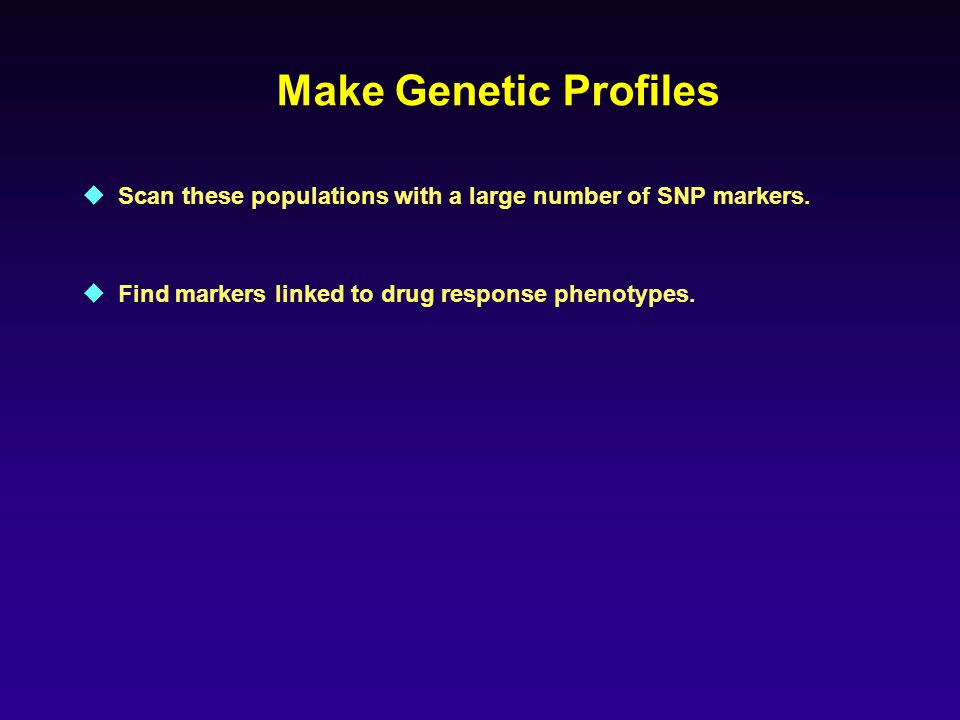 Make Genetic Profiles Scan these populations with a large number of SNP markers.
