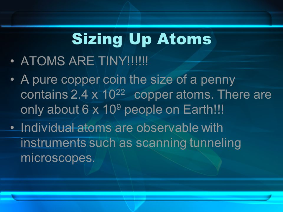 Sizing Up Atoms ATOMS ARE TINY!!!!!!