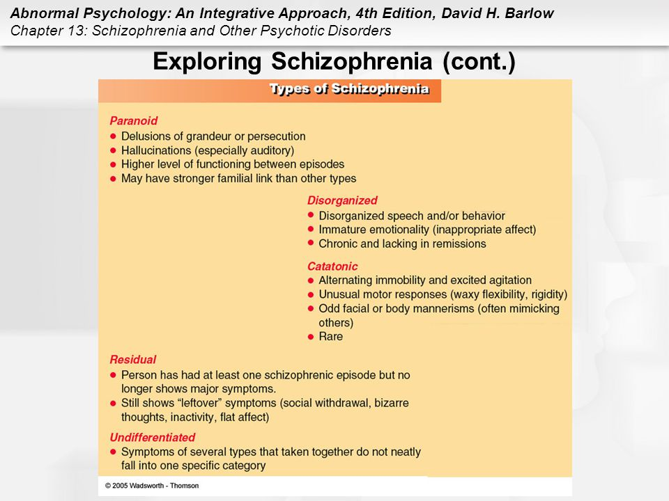 Exploring Schizophrenia (cont.)