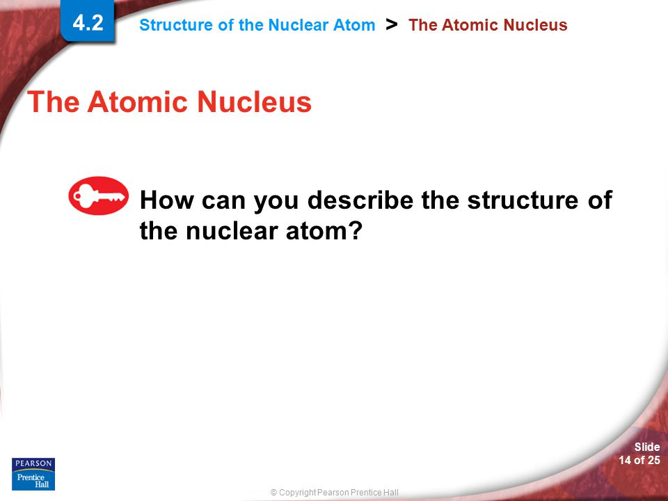 4.2 The Atomic Nucleus The Atomic Nucleus How can you describe the structure of the nuclear atom