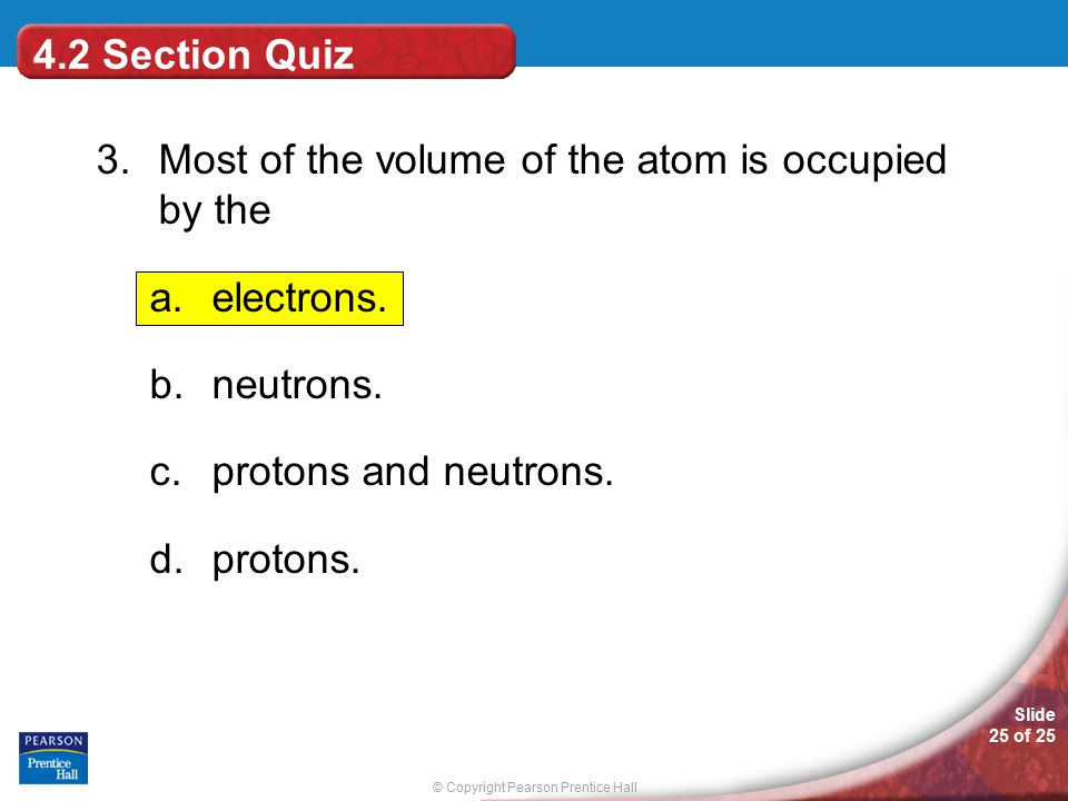 3. Most of the volume of the atom is occupied by the