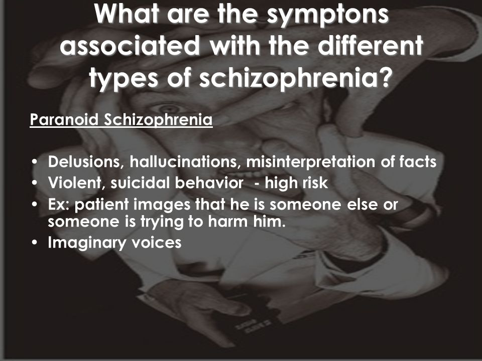 What are the symptons associated with the different types of schizophrenia