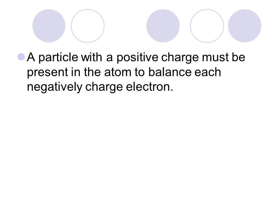A particle with a positive charge must be present in the atom to balance each negatively charge electron.
