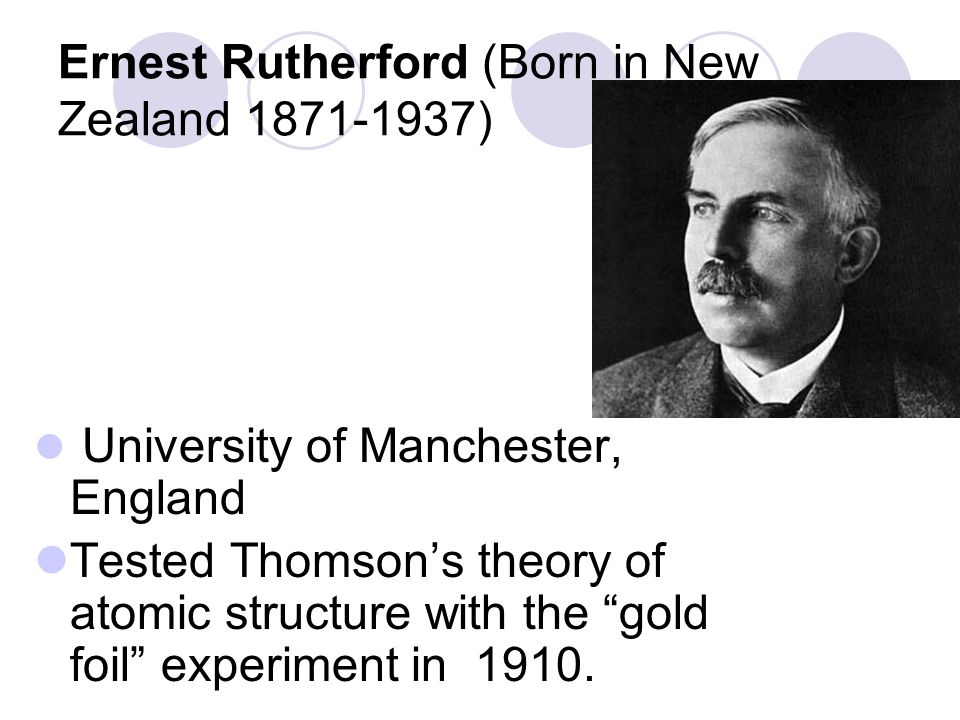 Ernest Rutherford (Born in New Zealand 1871-1937)