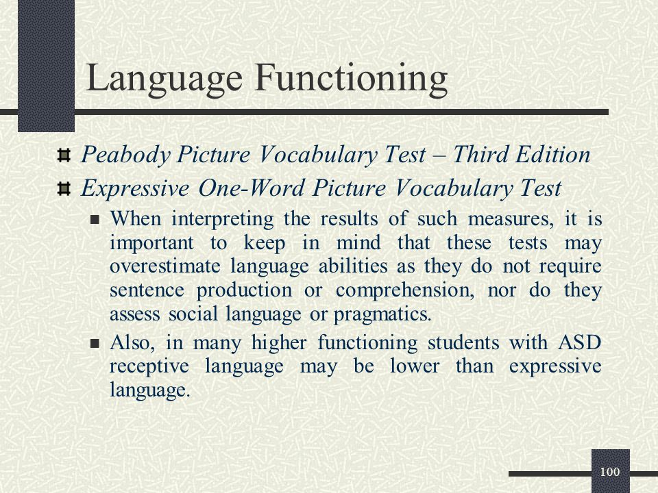 Language Functioning Peabody Picture Vocabulary Test – Third Edition
