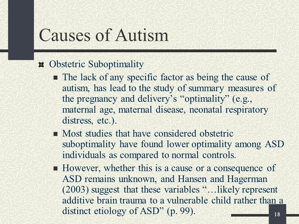 Causes of Autism Obstetric Suboptimality