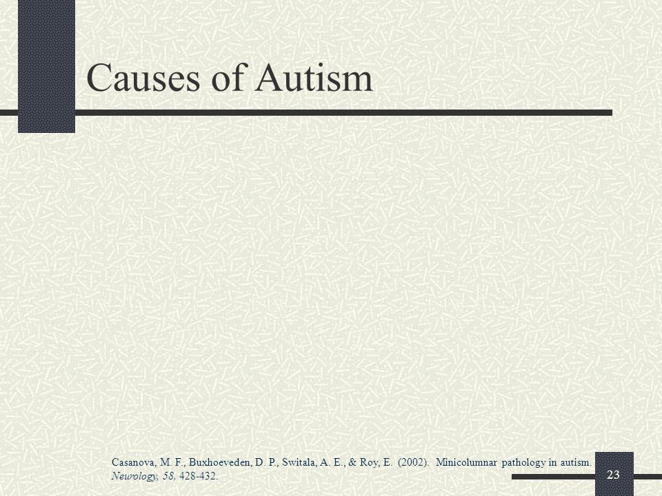 Causes of Autism Not In Handout Left = normal brain Right = ASD brain