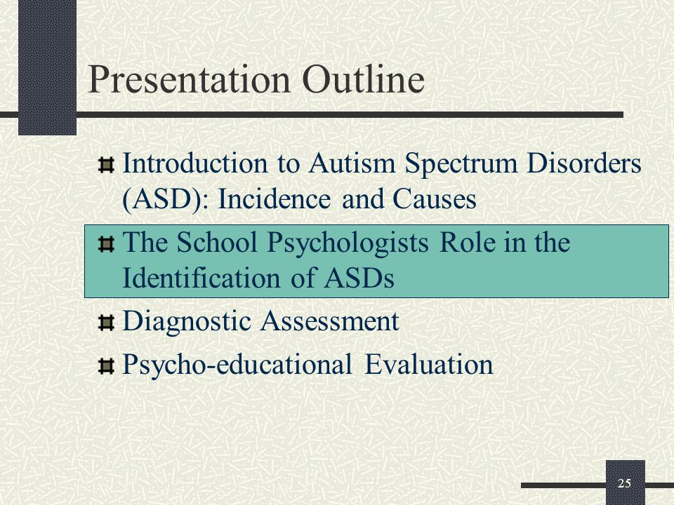 Presentation Outline Introduction to Autism Spectrum Disorders (ASD): Incidence and Causes.