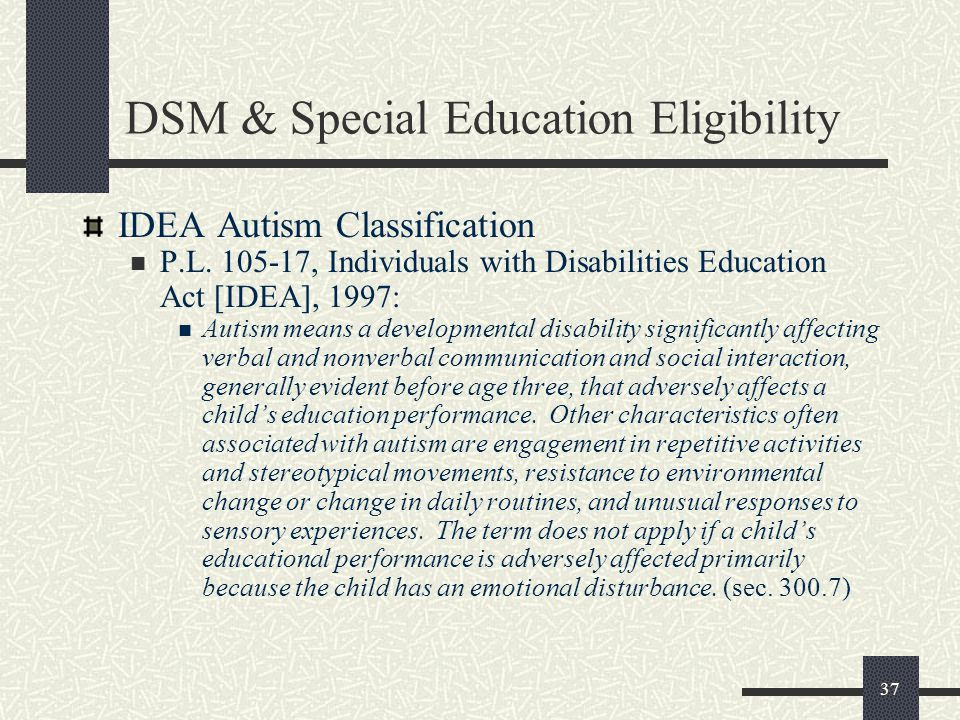 DSM & Special Education Eligibility