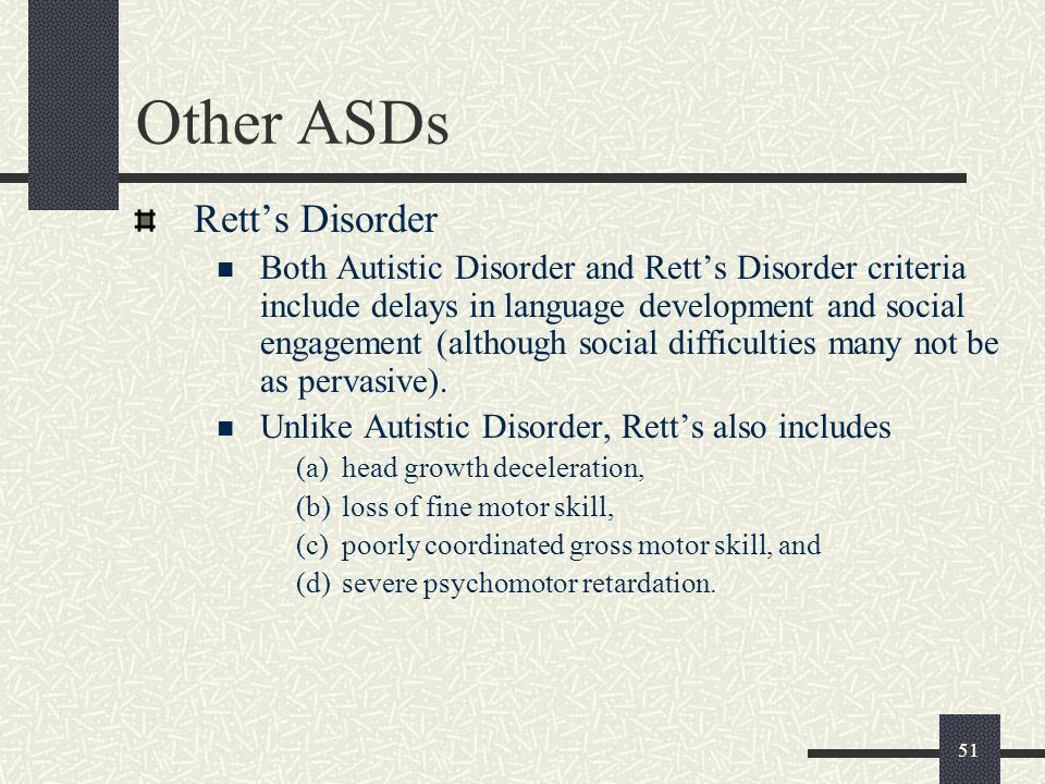 Other ASDs Rett's Disorder