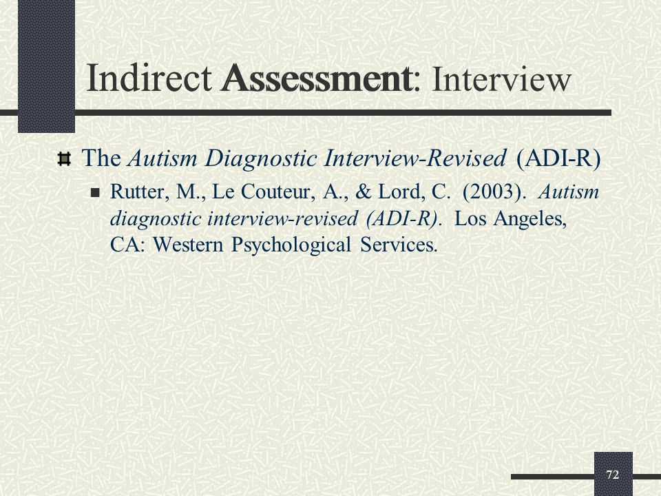 Indirect Assessment: Interview