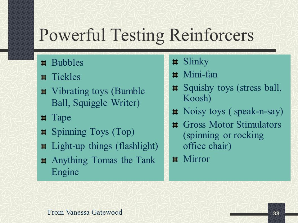 Powerful Testing Reinforcers