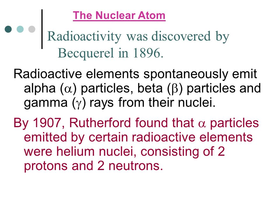 Radioactivity was discovered by Becquerel in 1896.