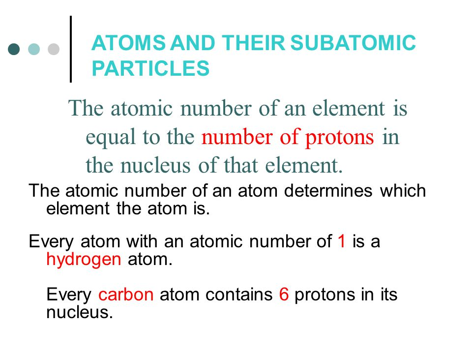 ATOMS AND THEIR SUBATOMIC PARTICLES