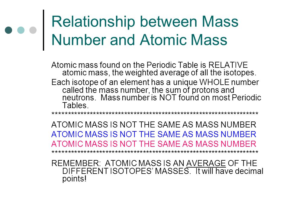 relationship of atomic mass and number