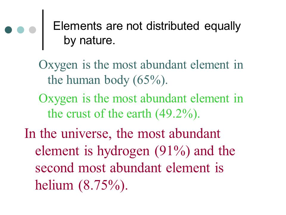 Elements are not distributed equally by nature.