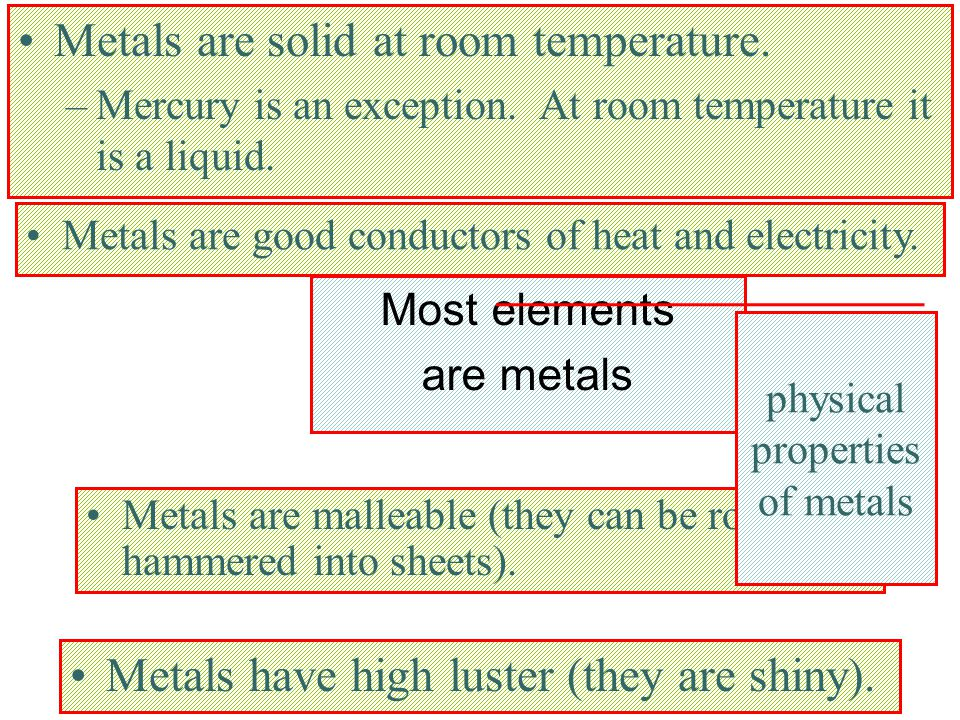 Metals are solid at room temperature.
