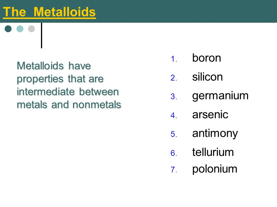 The Metalloids boron silicon germanium arsenic antimony tellurium