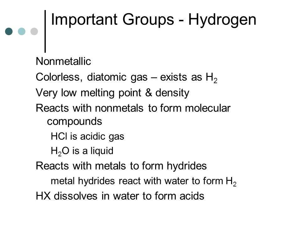 Important Groups - Hydrogen
