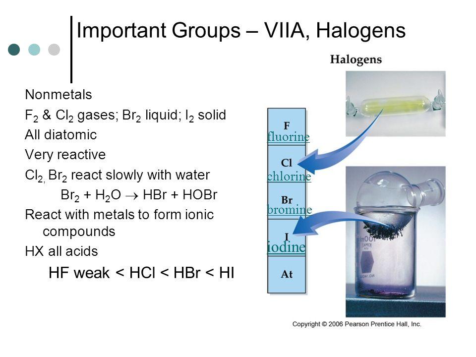 Important Groups – VIIA, Halogens