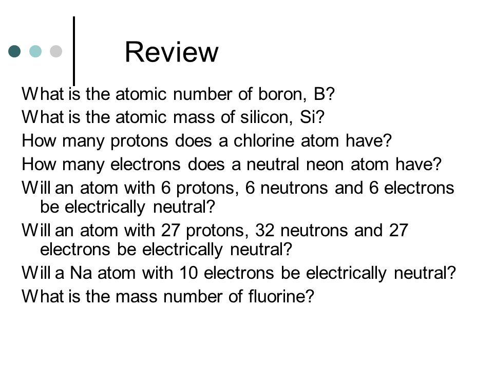 Review What is the atomic number of boron, B