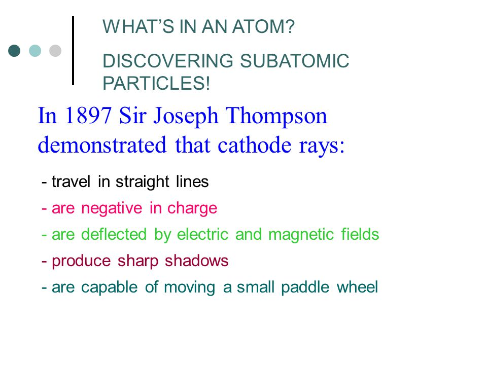 In 1897 Sir Joseph Thompson demonstrated that cathode rays: