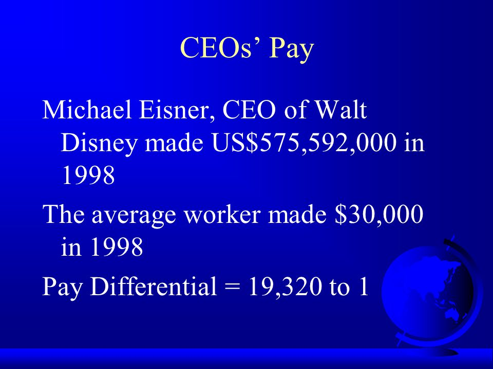 CEOs' Pay Michael Eisner, CEO of Walt Disney made US$575,592,000 in 1998. The average worker made $30,000 in 1998.
