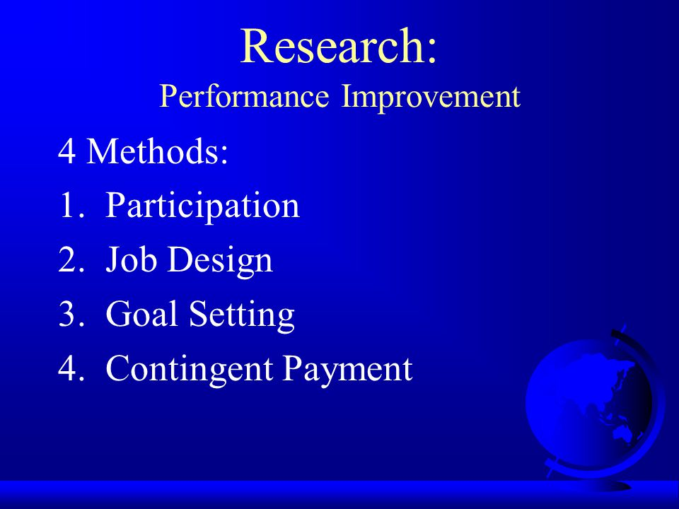 Research: Performance Improvement