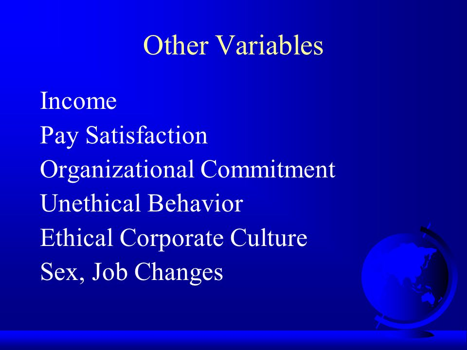 Other Variables Income Pay Satisfaction Organizational Commitment