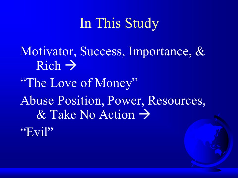 In This Study Motivator, Success, Importance, & Rich 