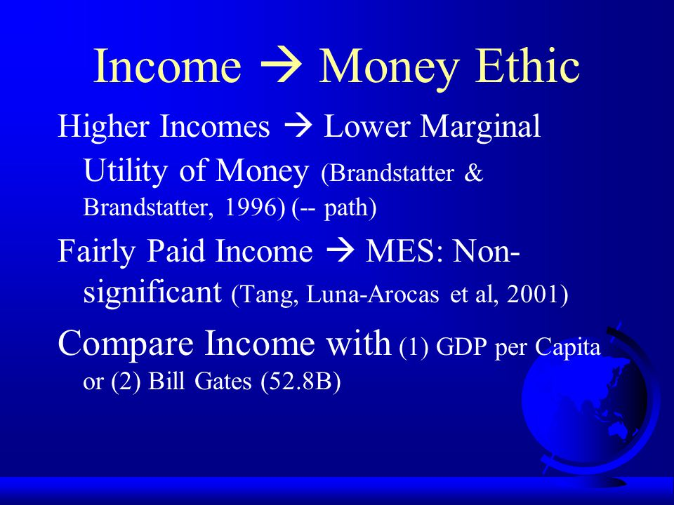 Income  Money Ethic Higher Incomes  Lower Marginal Utility of Money (Brandstatter & Brandstatter, 1996) (-- path)