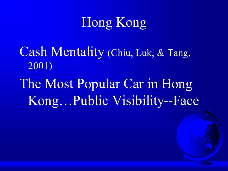 Hong Kong Cash Mentality (Chiu, Luk, & Tang, 2001) The Most Popular Car in Hong Kong…Public Visibility--Face.
