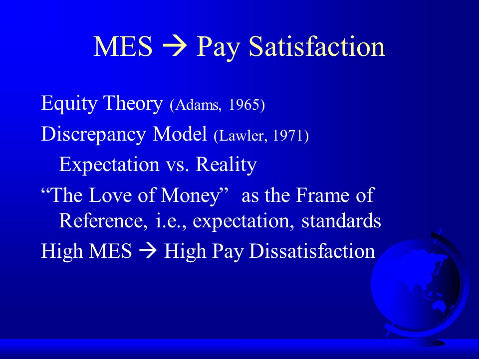 MES  Pay Satisfaction Equity Theory (Adams, 1965)