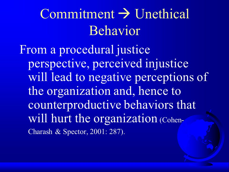 Commitment  Unethical Behavior