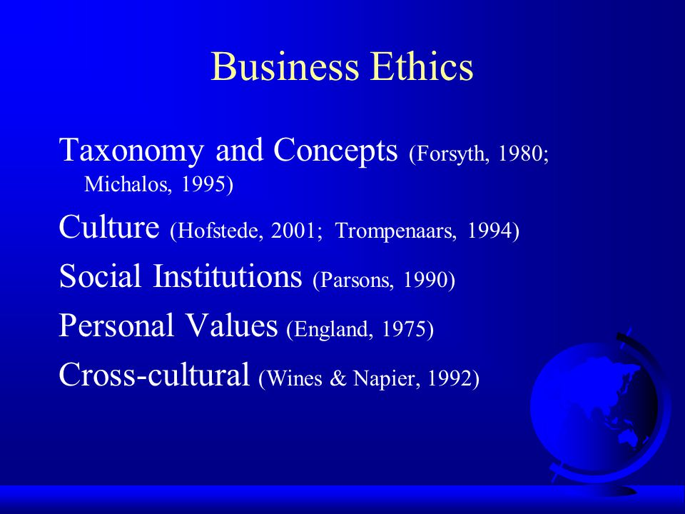 Business Ethics Taxonomy and Concepts (Forsyth, 1980; Michalos, 1995)