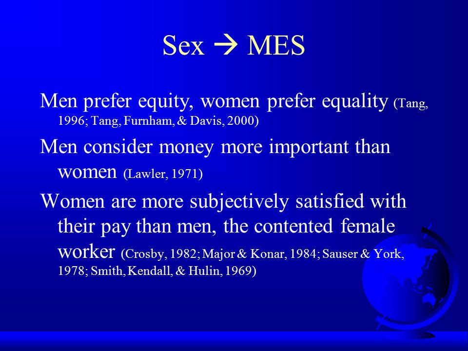Sex  MES Men prefer equity, women prefer equality (Tang, 1996; Tang, Furnham, & Davis, 2000)
