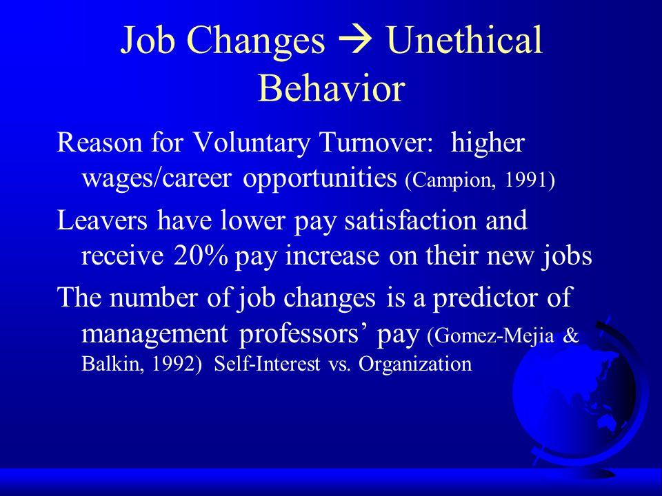 Job Changes  Unethical Behavior