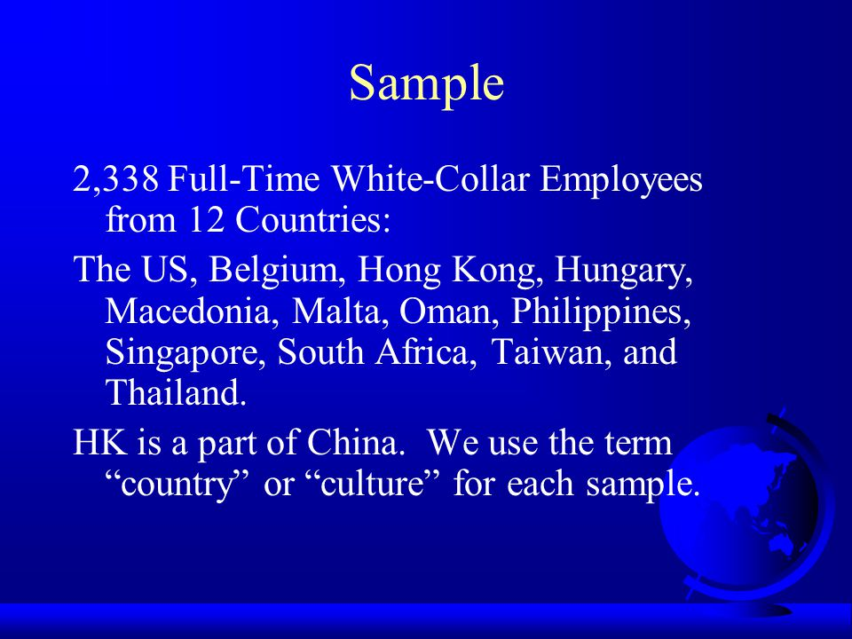 Sample 2,338 Full-Time White-Collar Employees from 12 Countries: