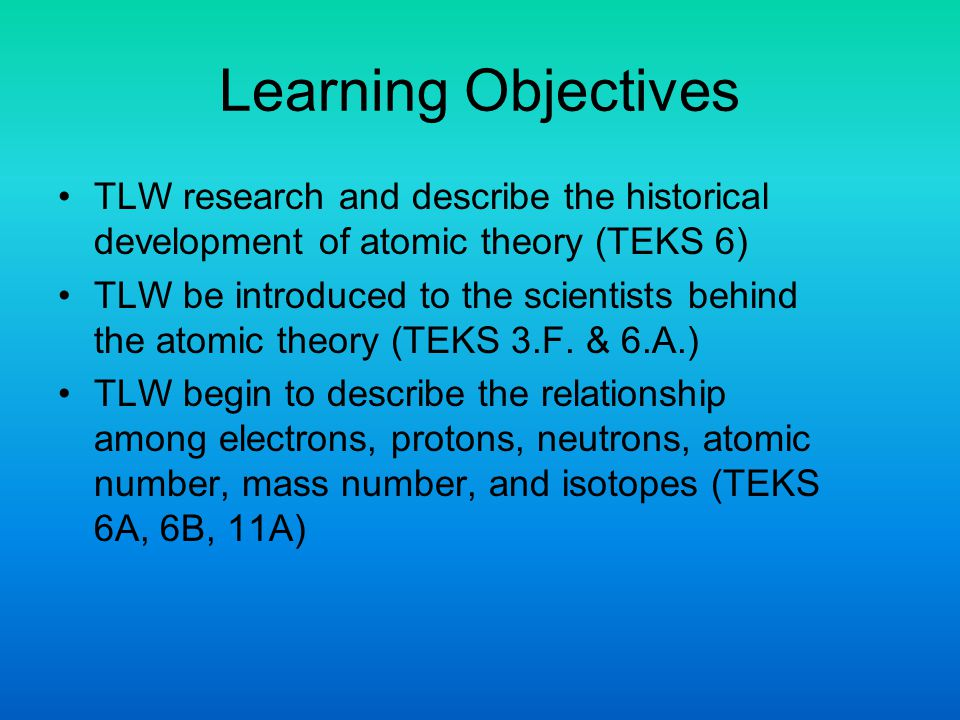 Learning Objectives TLW research and describe the historical development of atomic theory (TEKS 6)