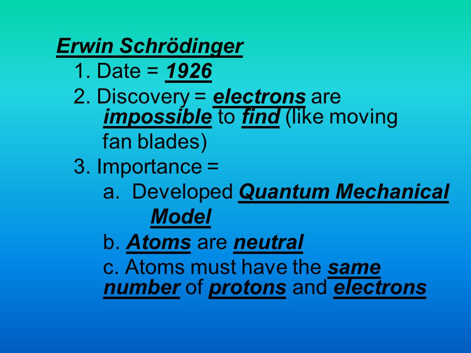 Erwin Schrödinger 1. Date = 1926. 2. Discovery = electrons are impossible to find (like moving.